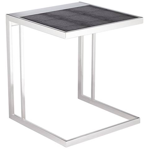 Tyson C-Shaped Black Top Polished Stainless Steel End Table
