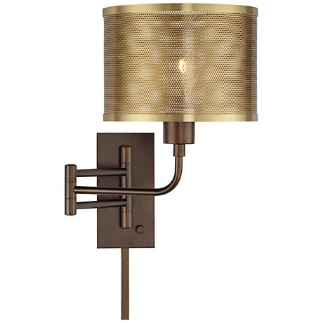 ashmore oil rubbed bronze swing arm wall lamp 9f151 lamps plus. Black Bedroom Furniture Sets. Home Design Ideas