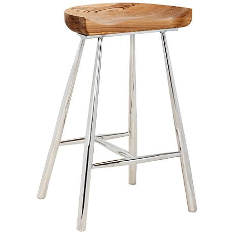"""Copley 26 1/2"""" Medium Brown Wood and Polished Counter Stool"""