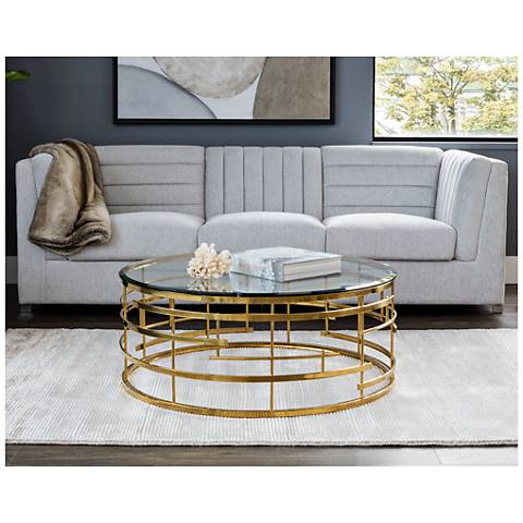 Cielo Glass Top And Yellow Gold Metal Round Coffee Table