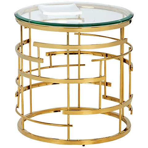 Cielo Glass Top and Yellow Gold Metal Round End Table