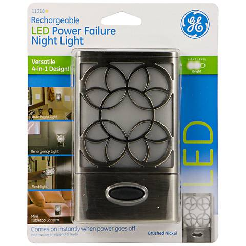 GE Brushed Nickel LED Power Failure Night Light