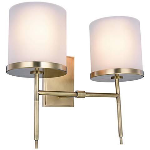 17 high burnished brass 2 light wall sconce 9f238 lamps plus. Black Bedroom Furniture Sets. Home Design Ideas