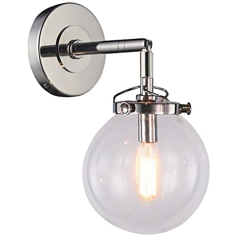 "Leda 13"" High Polished Nickel Wall Sconce"