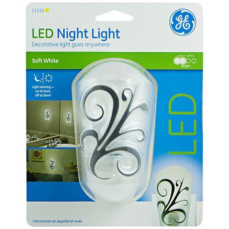 GE White Round Decor LED Night Light