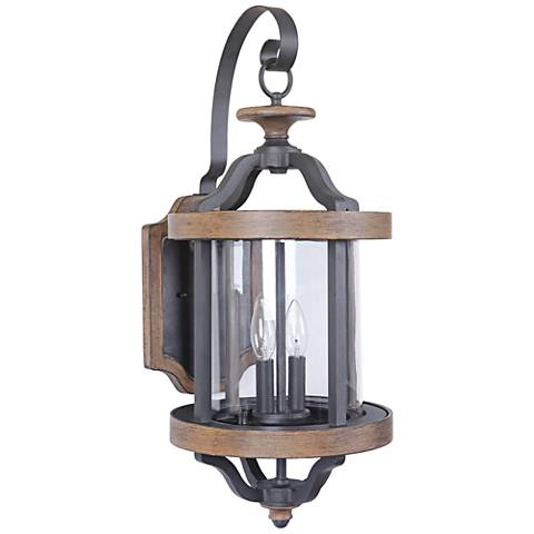 "Ashwood 25 1/2""H Black and Whiskey Barrel Outdoor Wall Light"