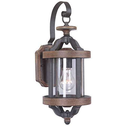 "Ashwood 17 1/4""H Black and Whiskey Barrel Outdoor Wall Light"