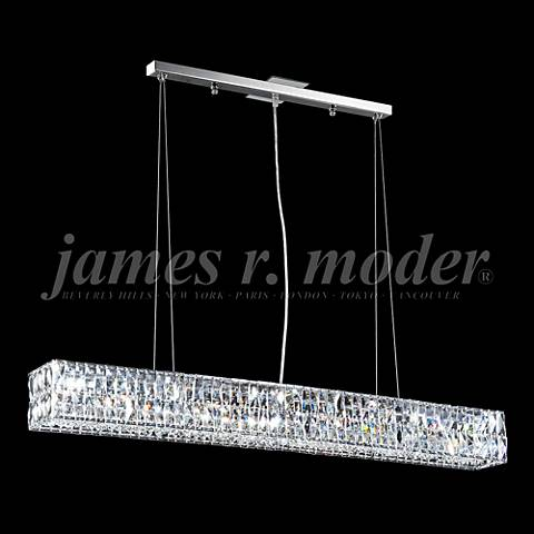 "James Moder Contemporary 46""W Silver Crystal Island Pendant"