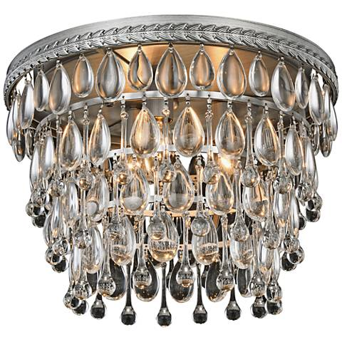 "Nordic 15"" Wide Antique Silver 3-Light Ceiling Light"