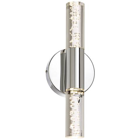"Natalya Bubble Acrylic Tube 13""H Chrome LED Wall Sconce"