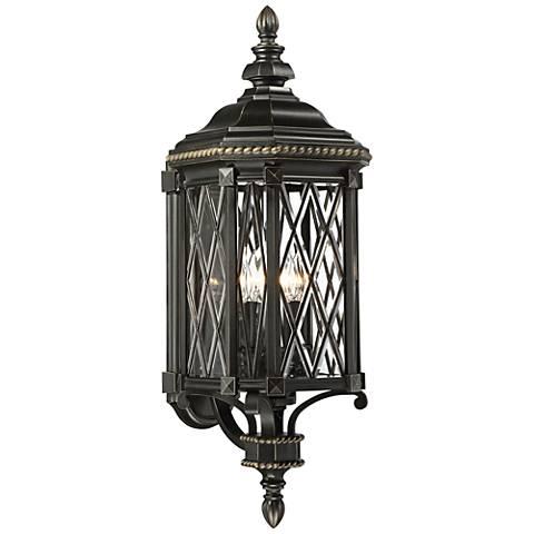"Bexley Manor 31 3/4""H Diamond Black Outdoor Wall Light"