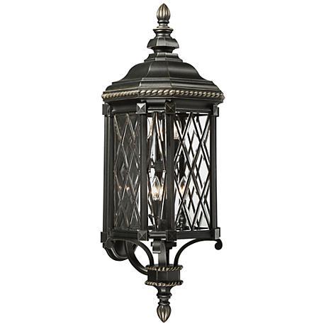 "Bexley Manor 37 3/4""H Diamond Black Outdoor Wall Light"