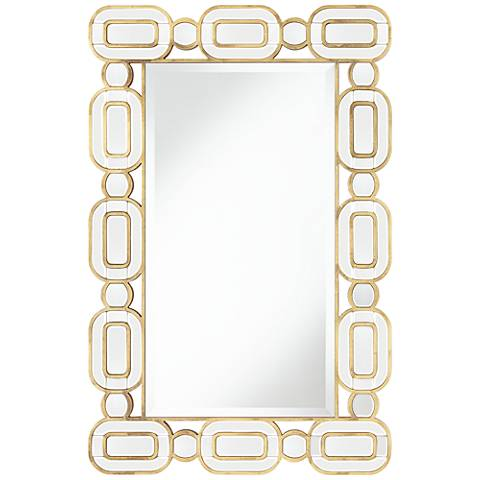 "Dietrich Gold Leaf 27 1/2"" x 42"" Oval Edge Wall Mirror"