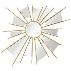 "Atomica Gold 33 1/2"" x 32 1/2"" Sunburst Wall Mirror"