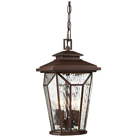 "Satomi 15"" High Alder Bronze Faceted Outdoor Hanging Light"