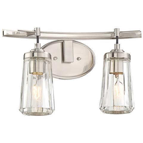 "Poleis 2-Light 16"" Wide Brushed Nickel Bath Light"