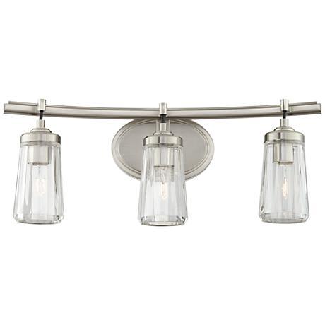 "Poleis 3-Light 24"" Wide Brushed Nickel Bath Light"