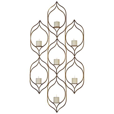 Uttermost Rovena Gold Leaf Pillar Wall Candle Holder