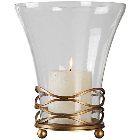 Uttermost Cristoforo Hurricane Gold Pillar Candle Holder
