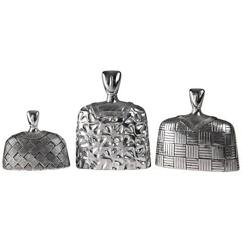 Uttermost Roberto Finials 3-Piece Silver Sculptures Set