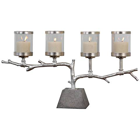 Uttermost Branch Metallic Silver Leaf Pillar Candle Holder