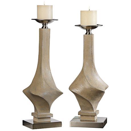 Uttermost Roseta Sand 2-Piece Pillar Candle Holders Set