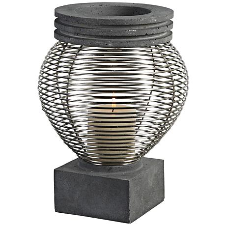 Fausto Charcoal Stained Concrete Pillar Candle Holder