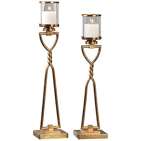 Uttermost Susana Gold Leaf 2-Piece Pillar Candle Holders Set