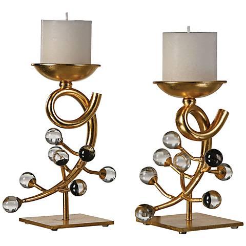 Uttermost Bede Gold leaf 2-Piece Pillar Candle Holders Set