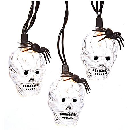 10-Light Clear Skull Indoor/Outdoor String Light Set