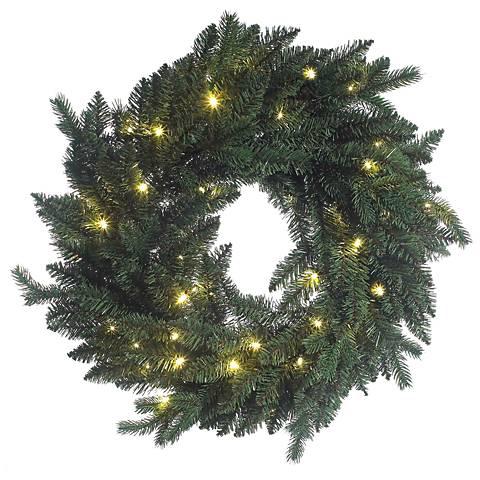 "Flourishing Green Pre-Lit 24"" Wide LED Wreath"