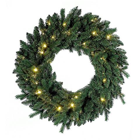 "Flourishing Green Pre-Lit 30"" Wide LED Wreath"
