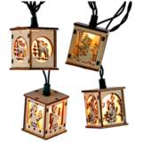 10-Light Carved Wood Holiday Lantern String Light Set