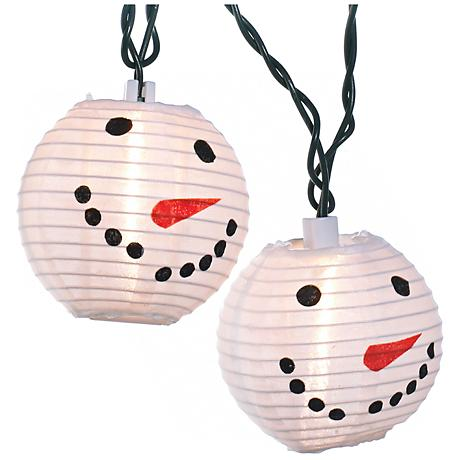 10 light snowman head indoor outdoor string light set. Black Bedroom Furniture Sets. Home Design Ideas