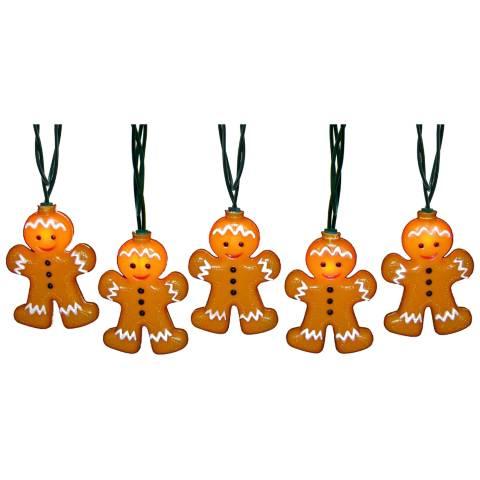 10-Light Gingerbread Man Indoor/Outdoor String Light Set - #9G839 Lamps Plus