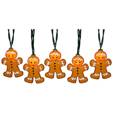 String Lights Lamps Plus : 10-Light Gingerbread Man Indoor/Outdoor String Light Set - #9G839 Lamps Plus
