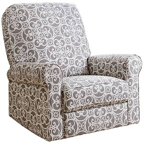 Perth Gray Floral Fabric Swivel Glider Recliner Chair