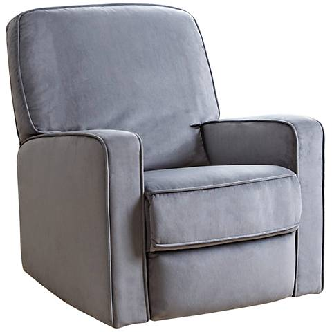Bella Gray Fabric Swivel Glider Recliner Chair