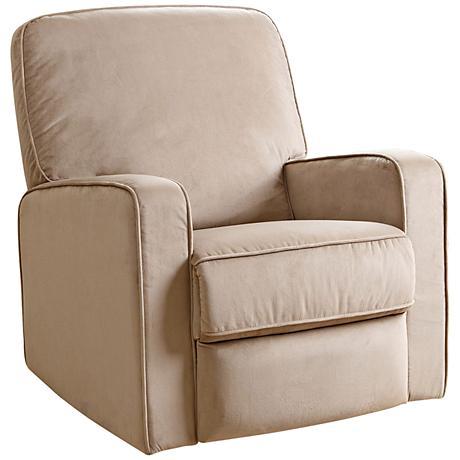 Bella Beige Fabric Swivel Glider Recliner Chair