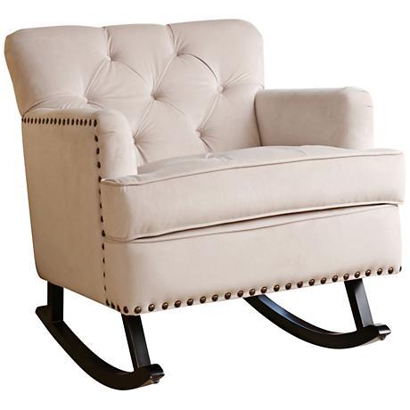 Clara Ivory Velvet Tufted Rocker Chair
