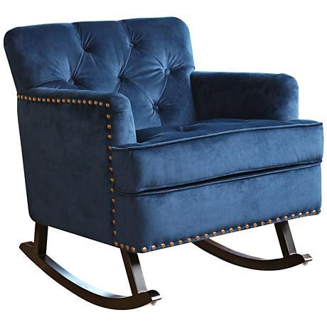 Clara Navy Blue Velvet Tufted Rocker Chair