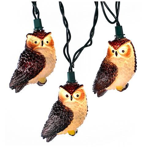 10-Light White Glitter Owl Indoor/Outdoor String Light Set