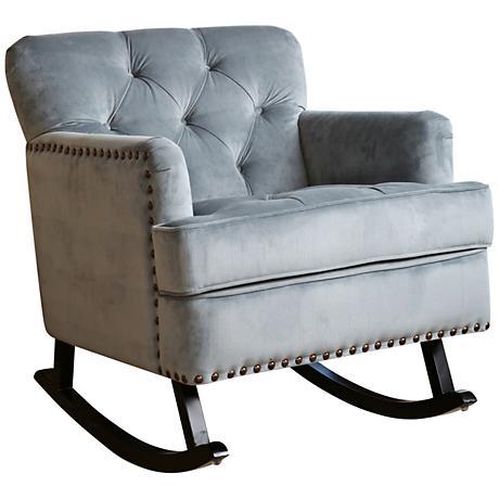 Clara Beige Velvet Tufted Rocker Chair