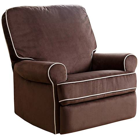 Bentley Coffee Fabric Swivel Glider Recliner Chair