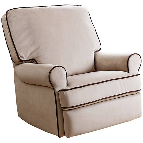 Bentley Sand Fabric Swivel Glider Recliner Chair