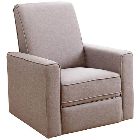 Nursery Taupe Gray Fabric Swivel Glider Recliner Chair