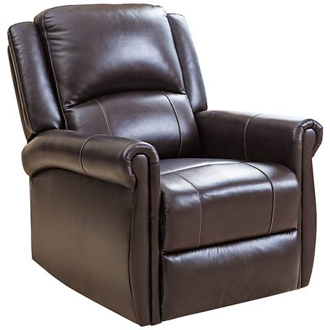 Nursery Brown Bonded Leather Swivel Glider Recliner Chair