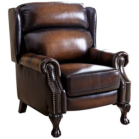 Vienna Brown Top-Grain Leather Pushback Recliner