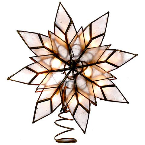 "10-Light Capiz Shell 8 1/2"" High Holiday Star Tree Topper"