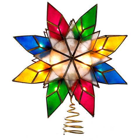 """10-Light Capiz Shell 8 1/2""""H Multi-Color Star Tree Topper"""